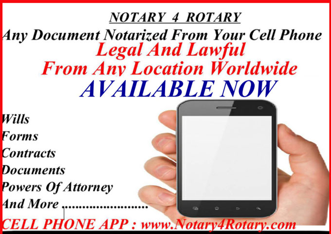 NOTARY 4 ROTARY – Certified Notary Services from your Cellphone